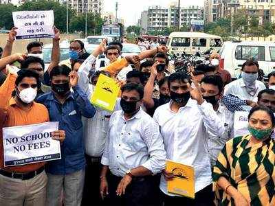 Parents protesting against fee detained in Ahmedabad
