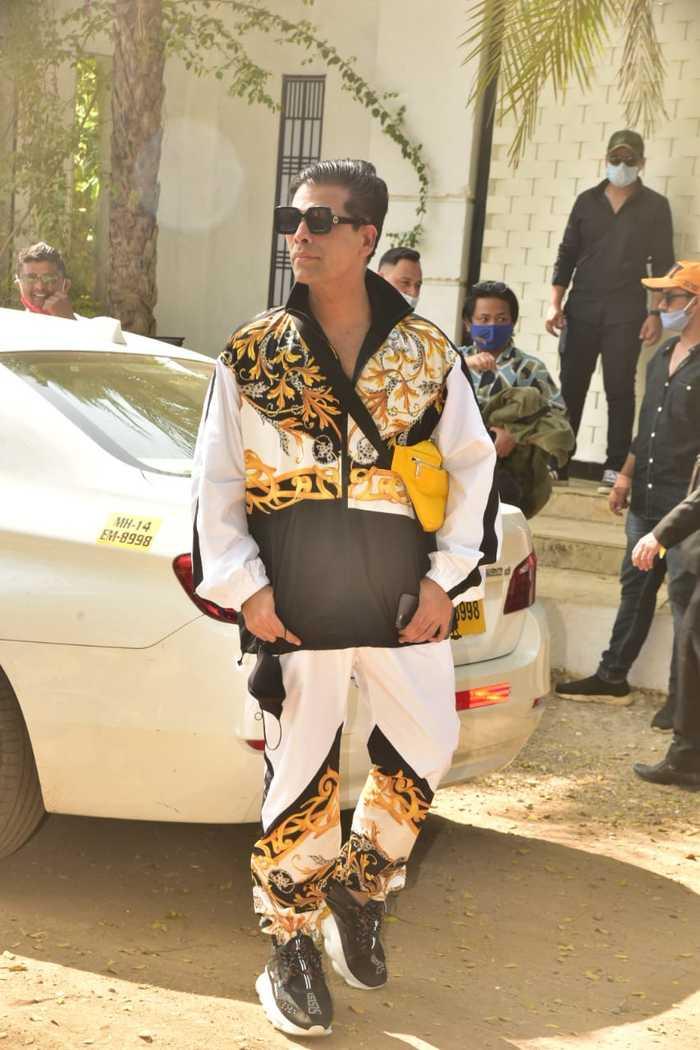 Groom's filmmaker-friend Karan Johar makes heads turn as he arrives at the wedding venue all decked up