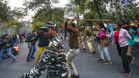 JNU stir: Police lathi-charge students on way to Rashtrapati Bhawan