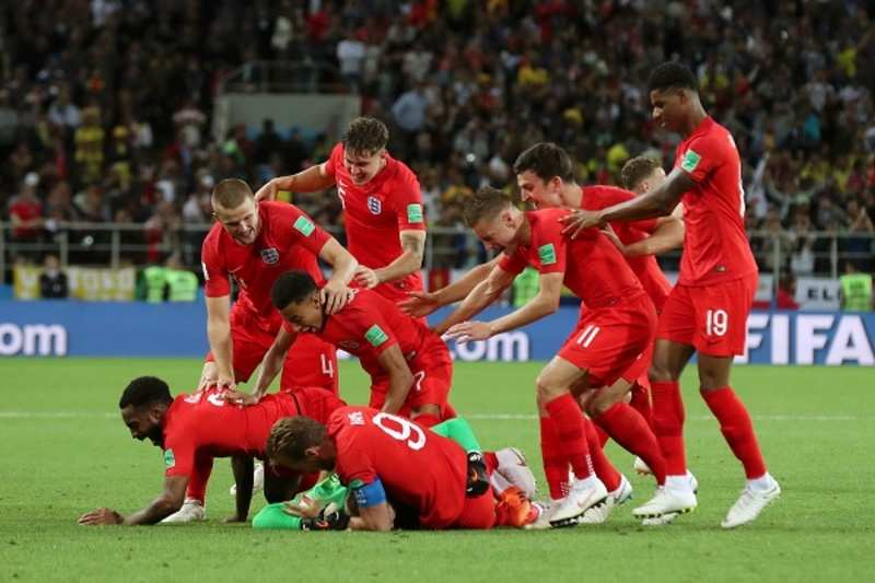 England scores a penalty winning goal against Columbia