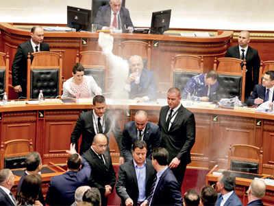 Flour test in Albania Parliament