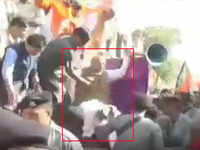 BJP president Amit Shah falls off stage during a rally in Madhya Pradesh
