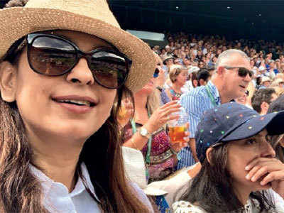 Juhi Chawla watches Novak Djokovic match at Wimbledon; Kabir Khan, Mini Mathur look forward to FIFA final leg in Russia
