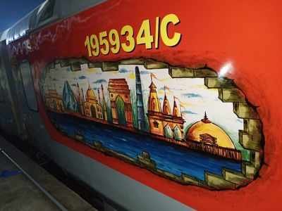 Photos: Central Railway's Mumbai – Hazrat Nizamuddin AC Rajdhani Express gets a touch of history through art