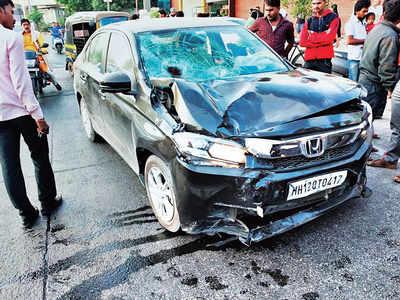 Drunk education consultant rams car into 3; female pedestrian's hair stuck in windscreen, male rider suffers head trauma