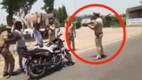 Watch how Police men frisk bikers at gunpoint in Badaun