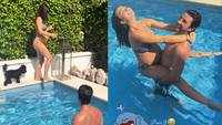 Pregnant Amy Jackson cuddles up with fiancé George Panayiotou in pool as they enjoy a lazy day