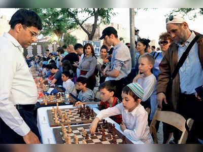 Anand plays chess in historic Old City of Jerusalem