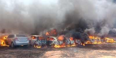 300 cars gutted in fire near venue of Aero India show in Bengaluru
