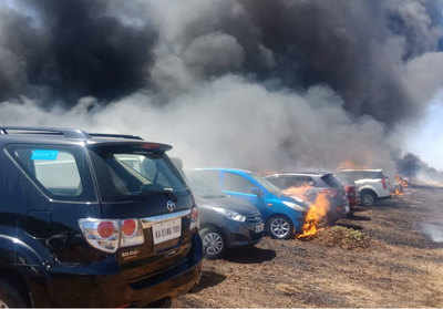 150 cars gutted in fire near venue of Aero India show in Bengaluru