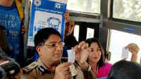 Bengaluru city Police Commissioner travels in bus to encourage maximum usage of public transport