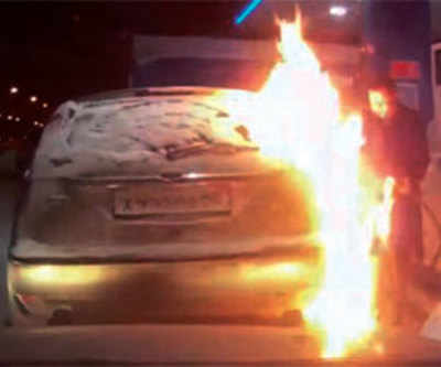 Driver checks fuel pump with lighter, sets car afire