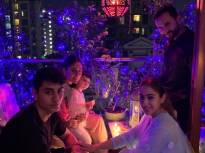 In pics: Sara Ali Khan celebrates Diwali in style with dad Saif and Kareena Kapoor Khan