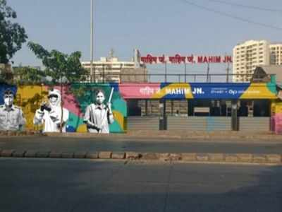 Western Railway salutes  Covid-19 warriors through wall art at Mahim railway station