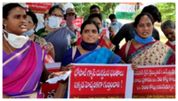 People's unions' stage protest against LG polymers in Vizag