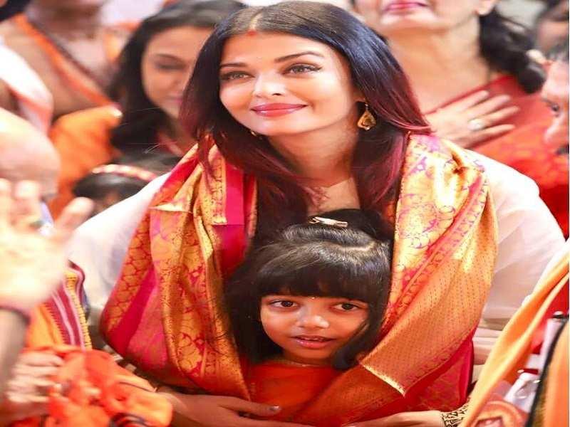 Aishwarya Rai Bachchan takes Aaradhya to GSB  Seva mandal