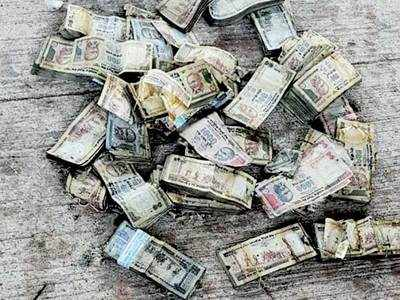 Old notes found floating in the Sabarmati