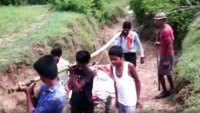 Husband carries sick wife on makeshift cot in MP's Anuppur