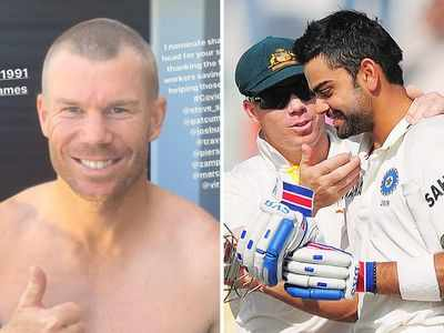 David Warner goes bald on Instagram in support for medical fraternity