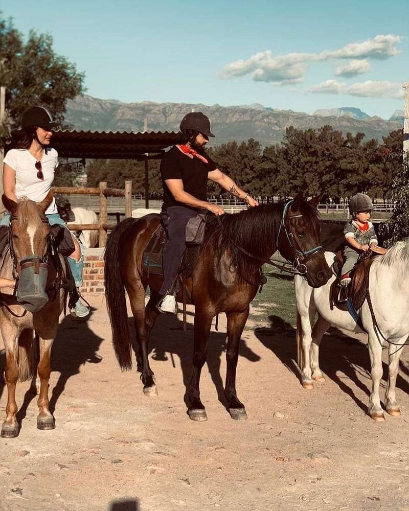 Taimur Ali Khan enjoys a horse ride