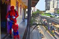 Covid-19: Man dressed as Spiderman sanitizes Chawl in Mumbai