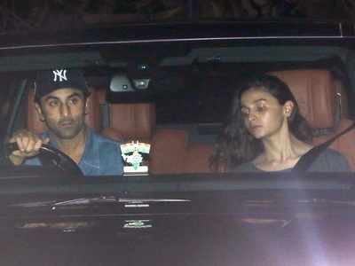 Photos: Ranbir Kapoor, Alia Bhatt papped outside Sanjay Dutt's Bandra residence