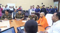 UP: Yogi Adityanath visits state police control room, monitors situation