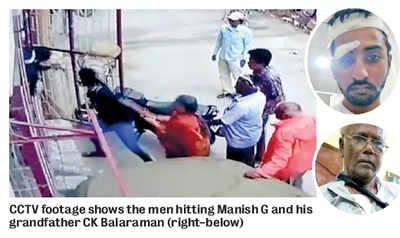 77-year-old, grandson thrashed