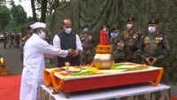 Rajnath Singh performs 'Shastra Puja' at Sukna War Memorial