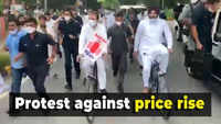 Rahul Gandhi and opposition leaders ride bicycles to protest rising fuel prices