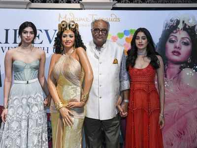 An emotional Boney Kapoor unveils Sridevi's statue at Madame Tussauds Singapore with daughters Janhvi and Khushi by his side