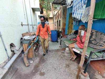 Lone man sanitises neighbourhood