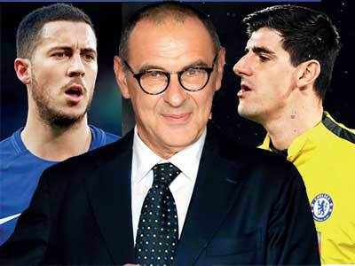 Football: Maurizio Sarri leaves decision on Belgian duo Eden Hazard and Thibaut Courtois to Chelsea board