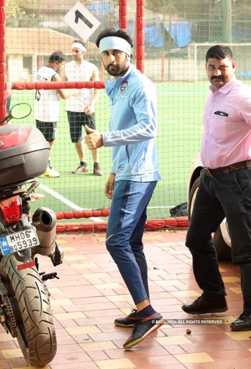 Ranbir Kapoor arrives at the football ground