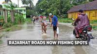 Kolkata: How waterlogged Rajarhat roads turn into fishing spots