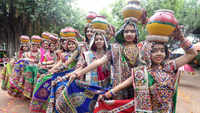 Dancers practice Garba ahead of Navratri festival in Ahmedabad