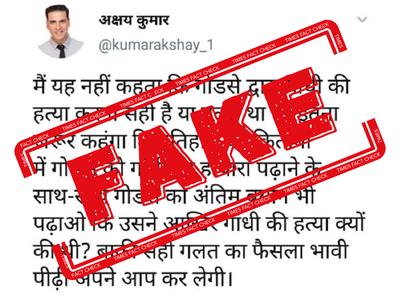 Fake alert: Screenshot of tweet from Akshay Kumar's impostor account shared widely