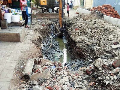 Rahatani fumes over dug-up drainage line