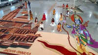 Bhoomi Pujan: Students make massive 3300 square feet long rangoli of Ayodhya temple and Lord Ram