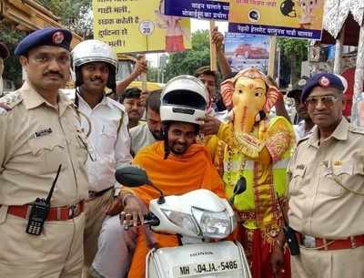 Ganesh Chaturthi 2018: Thane Police's unique way of telling bikers to wear helmets