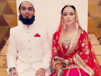 Former Bigg Boss contestant Sana Khan ties the knot, shares picture with husband