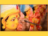 Durga Puja in Vijayawada: Artisans give final touches to idols of Durga  ahead of Navratri, Durga Puja