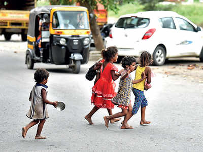Innocent to crisis, beggar children back on the roads