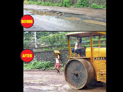 Bumpy Air India Road levelled