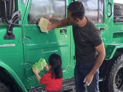 Watch: MS Dhoni shares adorable video of daughter Ziva helping him clean his car