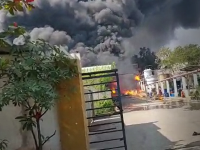 Watch: Eight injured in fire mishap at chemical factory near Hyderabad