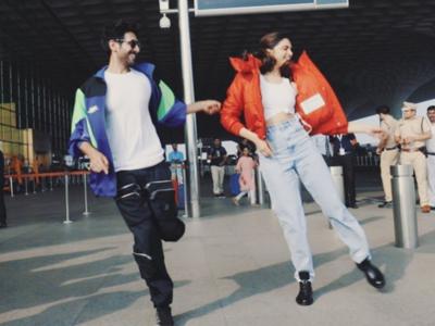 Watch: Kartik Aaryan teaches 'Dheeme Dheeme' step to Deepika Padukone at Mumbai airport