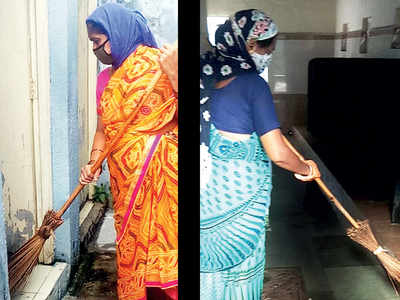 PMC staff clean public loos with bare hands