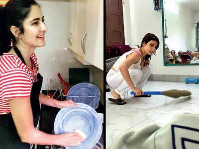 Katrina Kaif, Fatima Sana Shaikh, Ananya Panday, Kartik Aaryan, Mouni Roy take up the chore challenge