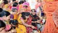 Women offer prayers on occasion of 'Vat Savitri' in UP's Prayagraj
